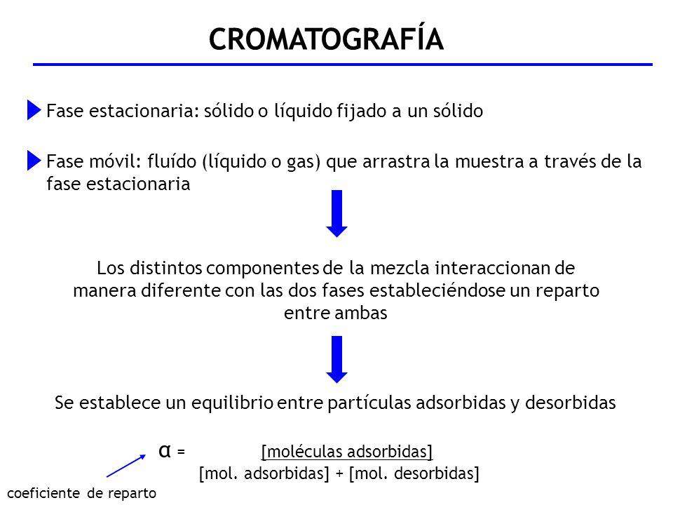 CROMATOGRAFÍA α = [moléculas adsorbidas]
